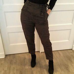 H&M | Green Brocade Print Trousers